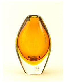 Skleněná váza Oliva Topazio 17 cm