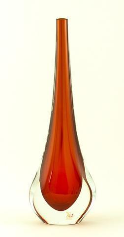 Skleněná váza Gocce Rosso 35 cm