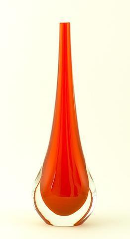 Skleněná váza Gocce Corallo 30 cm