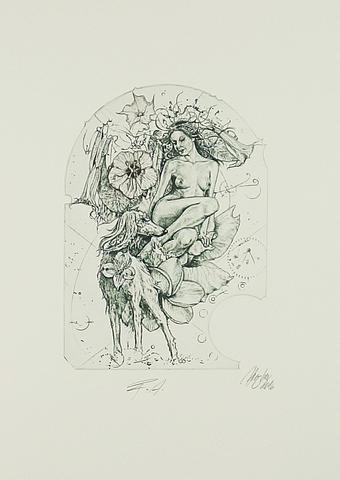 Günter Hujber - Žena, zvíře a květina (soubor 2 ks) - 1
