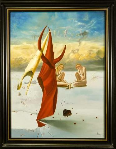 Günter Hujber - Meditace červenobílým mnichem nesoucí sám sebe na zádech