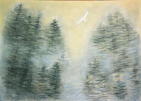 Josef Ruszelák - Pták nad lesem (reprodukce)