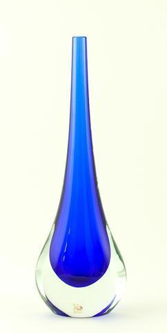 Skleněná váza Gocce Blu 35 cm